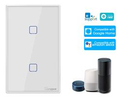 Interrruptor Tactil Wifi 2 Canal Sonoff para embut